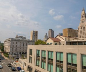downtown skyline with beautiful buildings