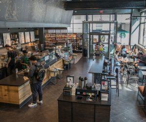 interior wide shot of Starbucks